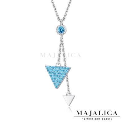 Majalica鎖骨鍊925純銀項鍊女短鍊 幾何世界 銀色藍鋯 單個價格(MIT)
