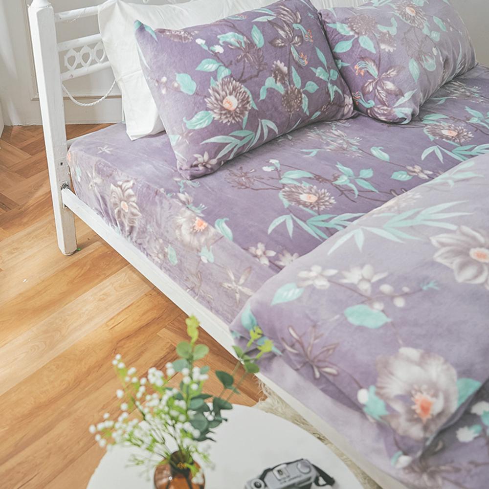 戀家小舖 / 法蘭絨  雙人加大床包兩用毯組  艾雪莉  保暖抗寒