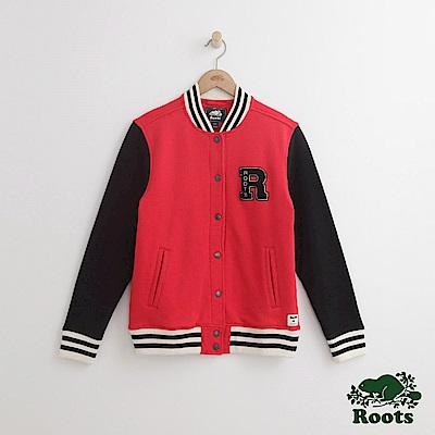 Roots女裝-ROOTS雙色棒球外套-紅