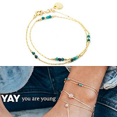 YAY You Are Young 法國品牌 Riviera 土耳其藍孔雀石手鍊 金色雙層