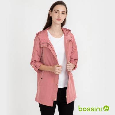bossini女裝-連帽風衣外套粉紅
