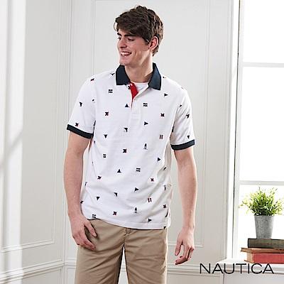Nautica經典旗語圖騰短袖POLO衫-白色