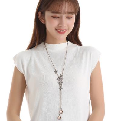 梨花HaNA 韓國復古情調花卉香檳珍珠長項鍊