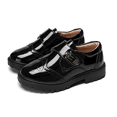Kidsfam 英倫學院漆皮經典時尚雕花魔鬼氈男中大童皮鞋 黑色