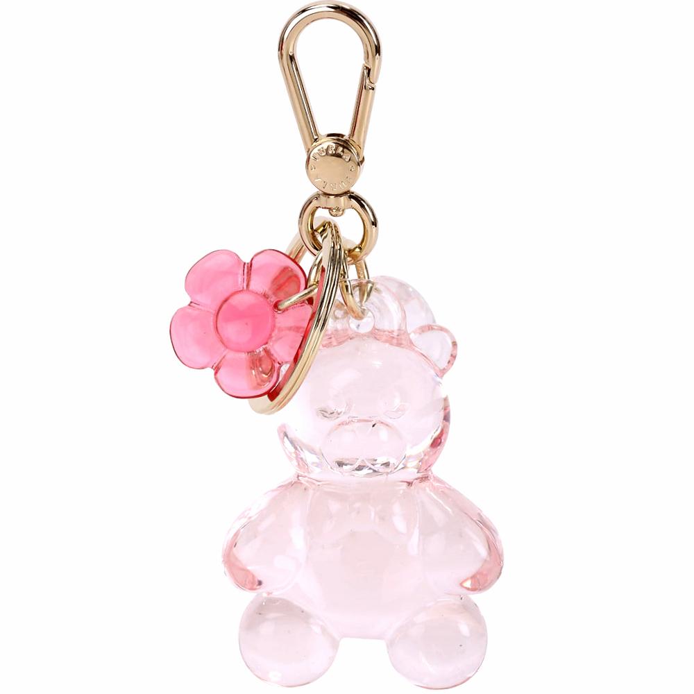 FURLA Candy 花朵泰迪熊樹脂鑰匙圈(透明粉) @ Y!購物
