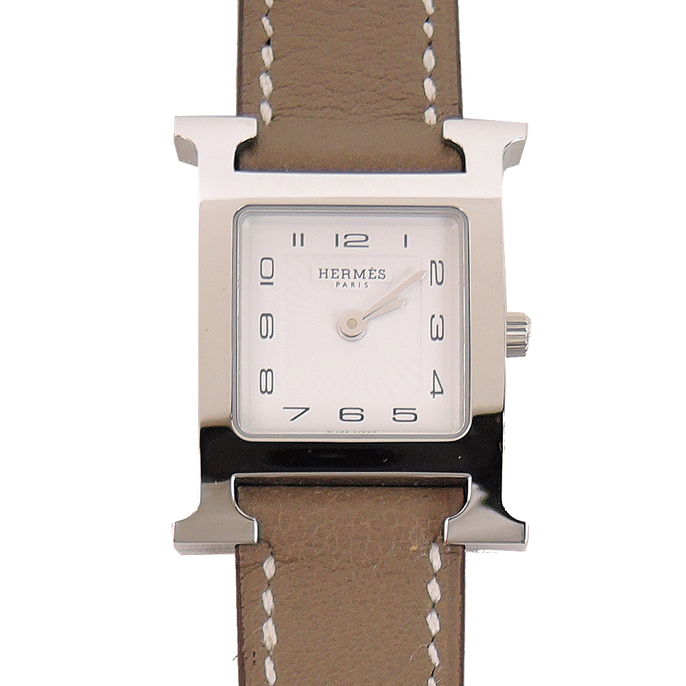 HERMES Heure H 牛皮金框石英女仕腕錶(大象灰/21mm)