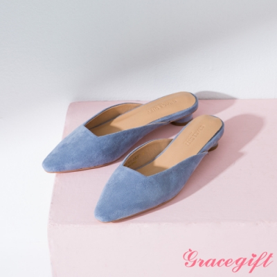 Grace gift-素面方口圓跟穆勒鞋 淺藍