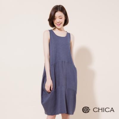 CHICA 夏日微糖繭型無袖連身洋裝(<b>2</b>色)