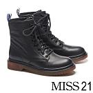 短靴 MISS 21 率性經典全真皮厚底馬汀短靴-黑