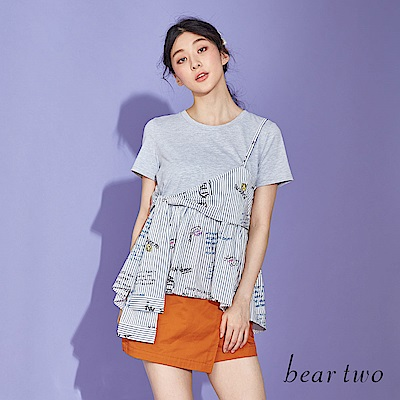 beartwo 拼接不規則印花細肩T恤上衣(深藍)