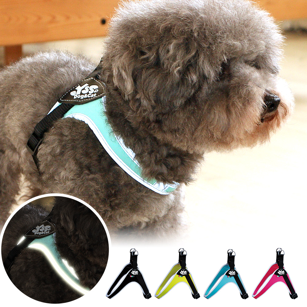 YSS 寵物PU綿防水耐用3D反光Y型一秒穿胸背帶S(4色)