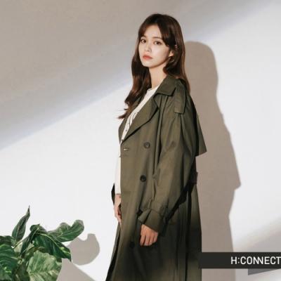 【周慶限量款】H:CONNECT 韓國品牌 女裝-帥氣翻領雙排釦風衣-綠