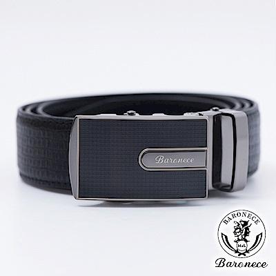 【BARONECE】嚴選高品質皮革格紋皮帶_黑色(616003)