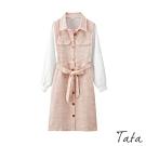 拼接假兩件排扣繫帶洋裝 TATA-(S/M)