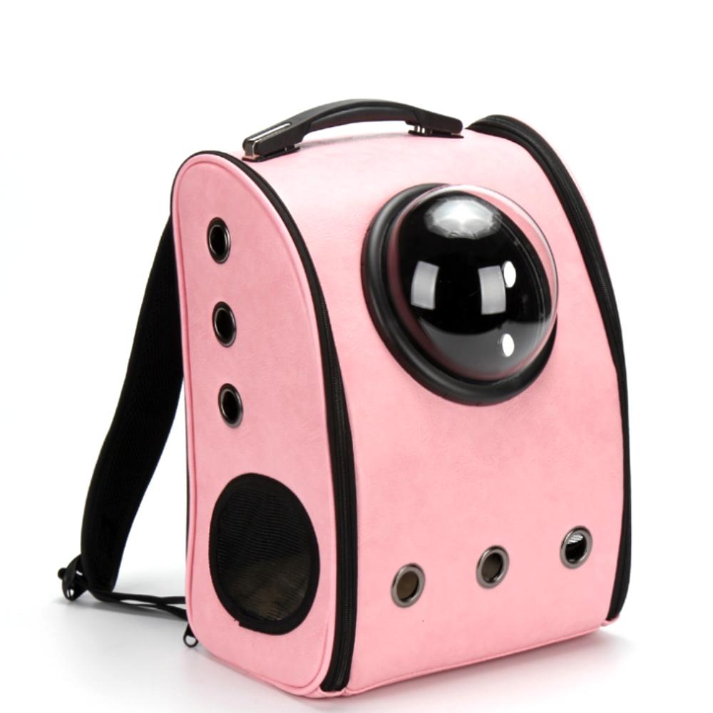 dyy》皮革透明通風寵物超夯喵星人太空艙背包前後可背顏色隨機出貨