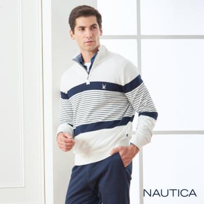Nautica立領拉鍊條紋長袖細針織衫-白色