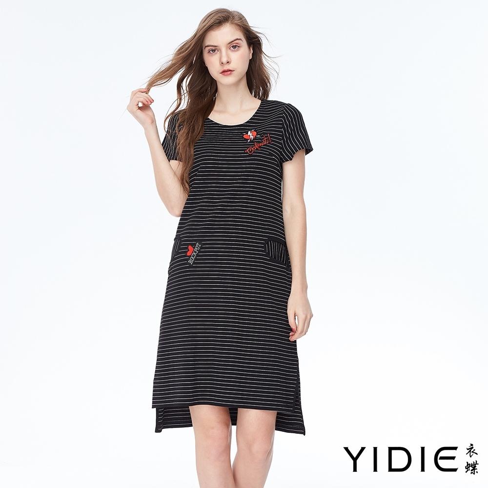YIDIE衣蝶 針織條紋不規則下擺洋裝