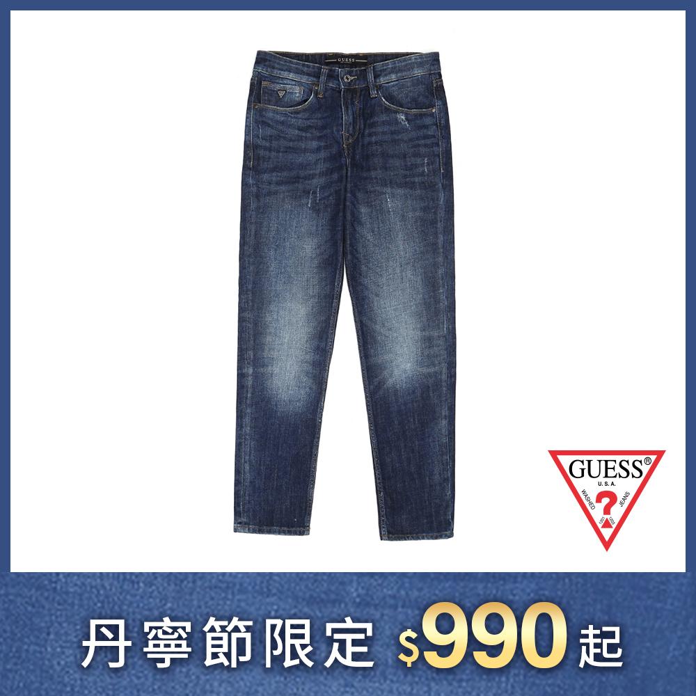 GUESS-男裝-經典仿舊造型直筒牛仔褲-深藍 原價2790