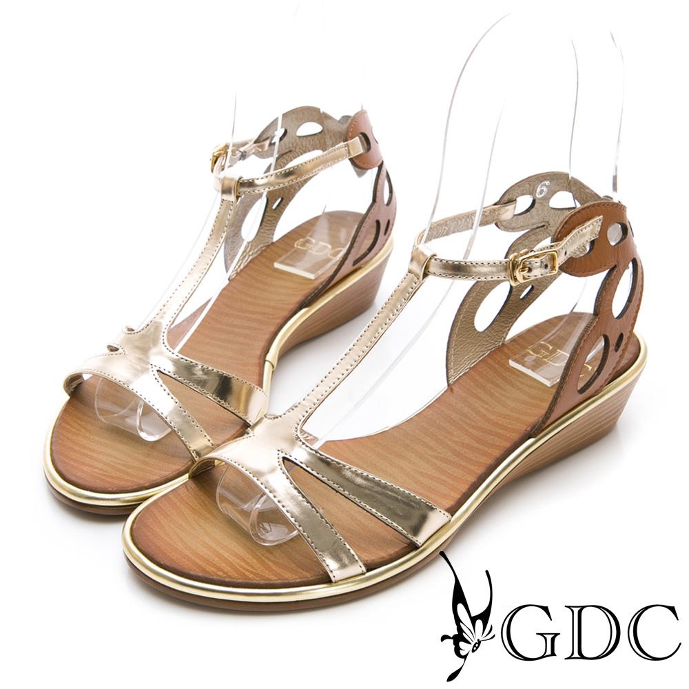 GDC-真皮貴氣金屬感時尚前衛涼鞋-金色
