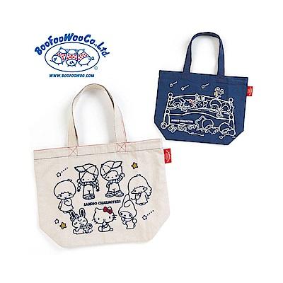 Sanrio SANRIO*BOOFOOWOO刺繡帆布手提袋(70年代-丹寧藍)