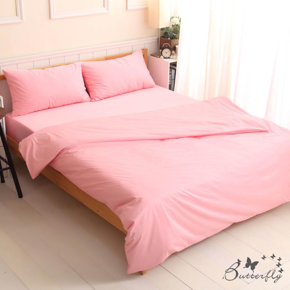 BUTTERFLY-SGS專業級認證抗菌高透氣防水保潔墊-加大雙人床包四件組-粉色