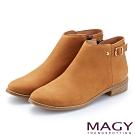 MAGY 個性潮流 拉鍊式牛皮中性低跟踝靴-棕色