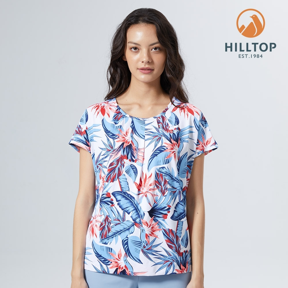 【hilltop山頂鳥】女款Polygiene抗菌吸濕快乾抗UV印花圓領T恤S04FJ9白
