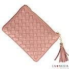 La Moda 女孩最愛手工編織設計小巧零錢包卡包(藕粉)