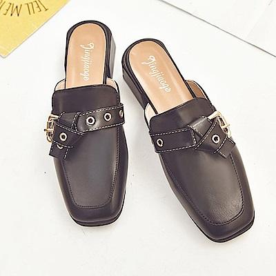 KEITH-WILL時尚鞋館 美搭款俏皮撞色好感粗跟鞋-黑色