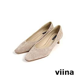 viina Basic 鞋頭剪接特殊跟型跟鞋 - 杏