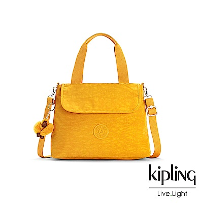Kipling 亮眼芥末黃前翻蓋手提側背包-ENORA