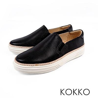 KOKKO -未知之境真皮厚底懶人鞋-探索黑