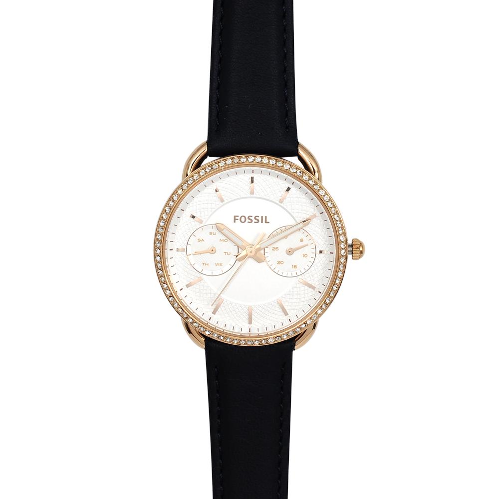 FOSSIL 美國精品手錶 TAILOR晶鑽白錶盤x玫瑰金錶框藍色皮革錶帶35mm