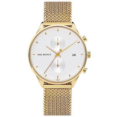 PAUL HEWITT Chrono Line風尚米蘭帶計時手錶-白X金/42mm