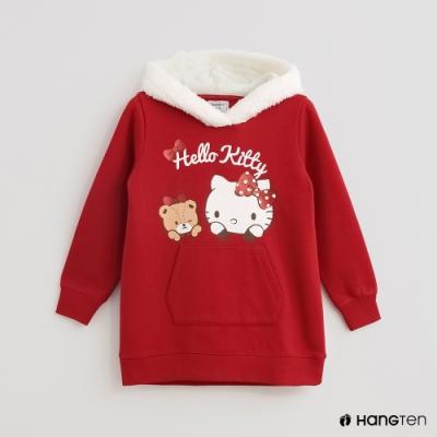 Hang Ten-童裝-Sanrio-素面童趣印花毛呢連帽刷毛上衣-紅