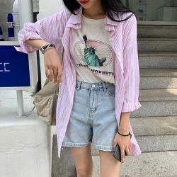 韓國空運 直紋長版襯衫-2色-TMH