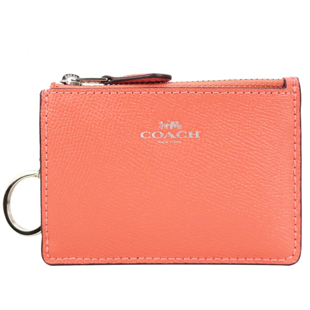 COACH 馬車防刮皮革後卡夾鑰匙零錢包(珊瑚橘粉)