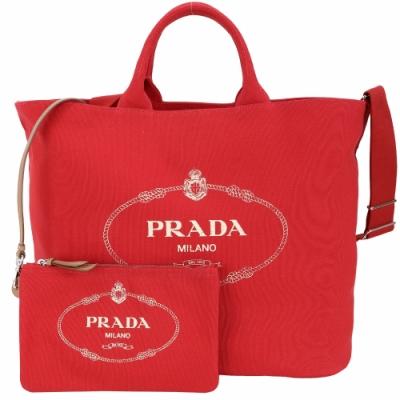 PRADA Canvas 大型 單寧帆布印花旅行用托特包(附萬用包/紅色)