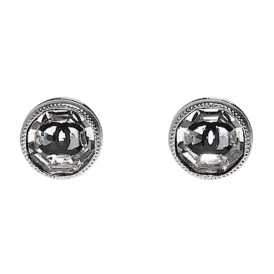 CHANEL 經典雙C LOGO圓形滾邊琉璃鑲嵌造型穿式耳環(銀-小)