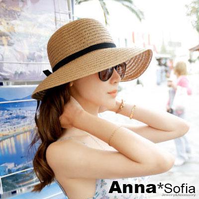 AnnaSofia 緞帶黑結 防曬寬簷遮陽淑女帽草帽漁夫帽(駝系)