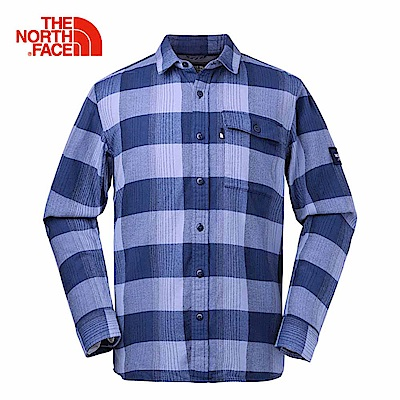 The North Face北面男款藍色格紋休閒長袖襯衫 3LAB6YK