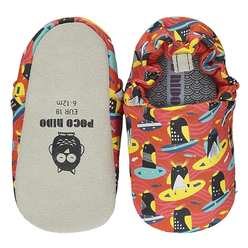 英國 POCO NIDO 手工嬰兒鞋 (衝浪企鵝 - 蘋果紅)【2021新款】