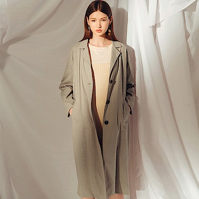 AIR SPACE LADY 排釦翻領純棉長版外套(軍綠)