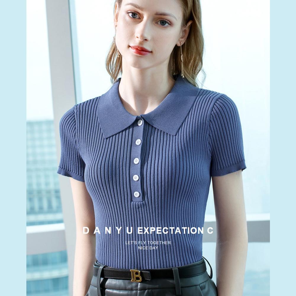 專注內搭-薄版冰絲針織衫翻領短袖T恤彈力收腰素色上衣(三色S-2XL可選)