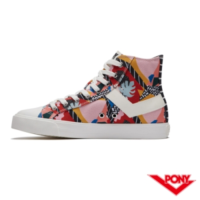 【PONY】Shooter系列塗鴉高筒復古帆布鞋 休閒鞋 女鞋 粉色塗鴉