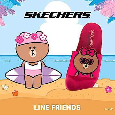 SKECHERS 女休閒系列 涼拖 2ND TAKE LINE FRIENDS 熊美限定款 - 31644FUS