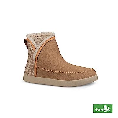SANUK NICE BOOTAH OJAI 羊毛格紋中筒靴-女款(卡其色)