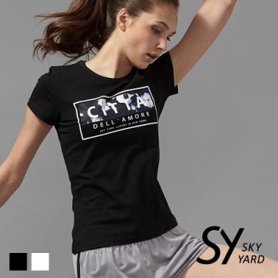 【SKY YARD 天空花園】潮流花朵方塊印花設計T恤-黑色