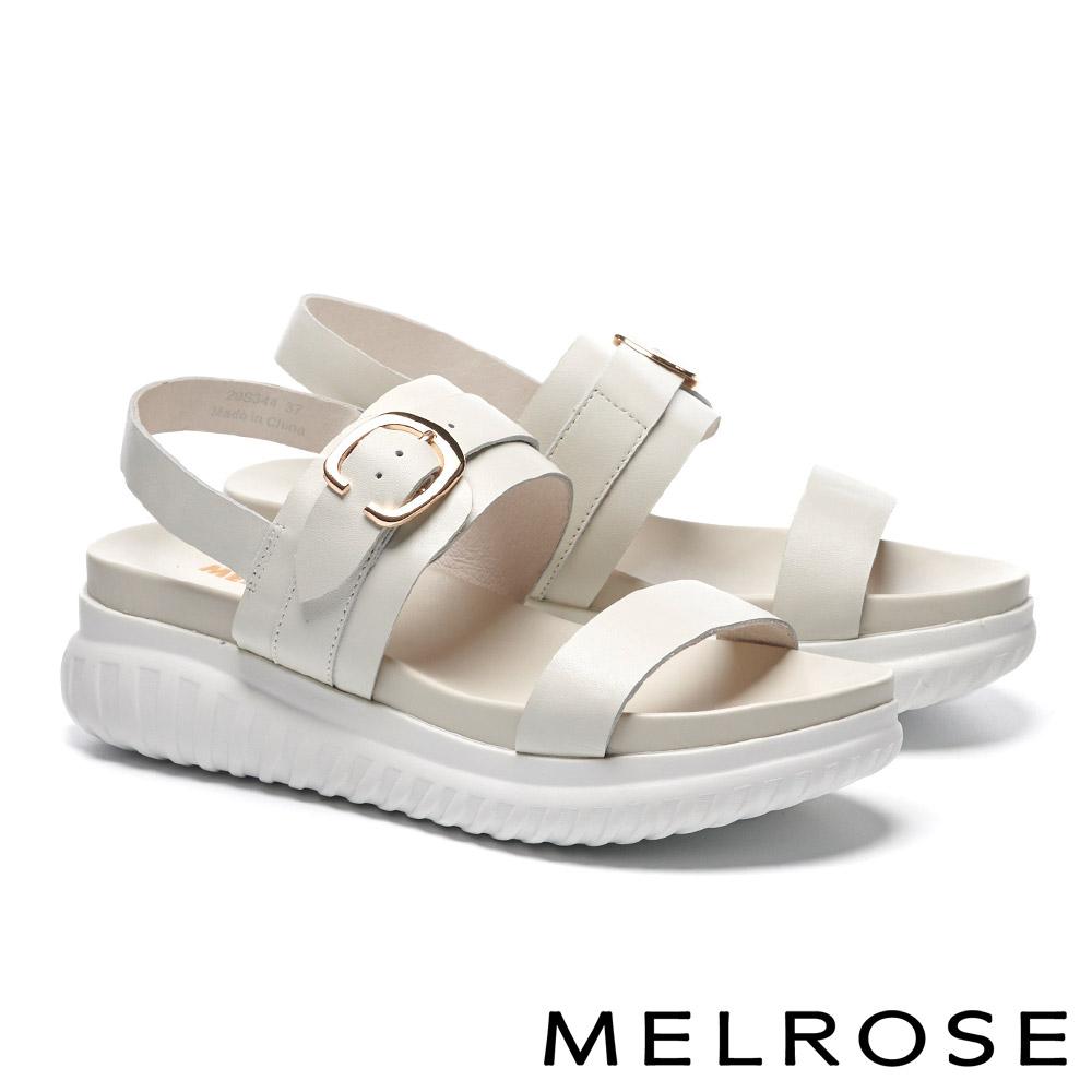 涼鞋 MELROSE 簡約率性金屬釦飾牛皮厚底涼鞋-白