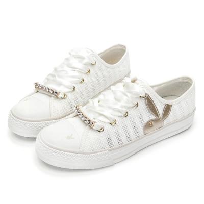 PLAYBOY浪漫縷空可拆鞋釦休閒鞋-白-Y620211